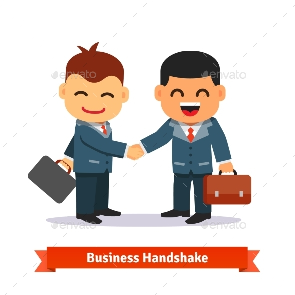 Two Business People Shaking Hands - Concepts Business