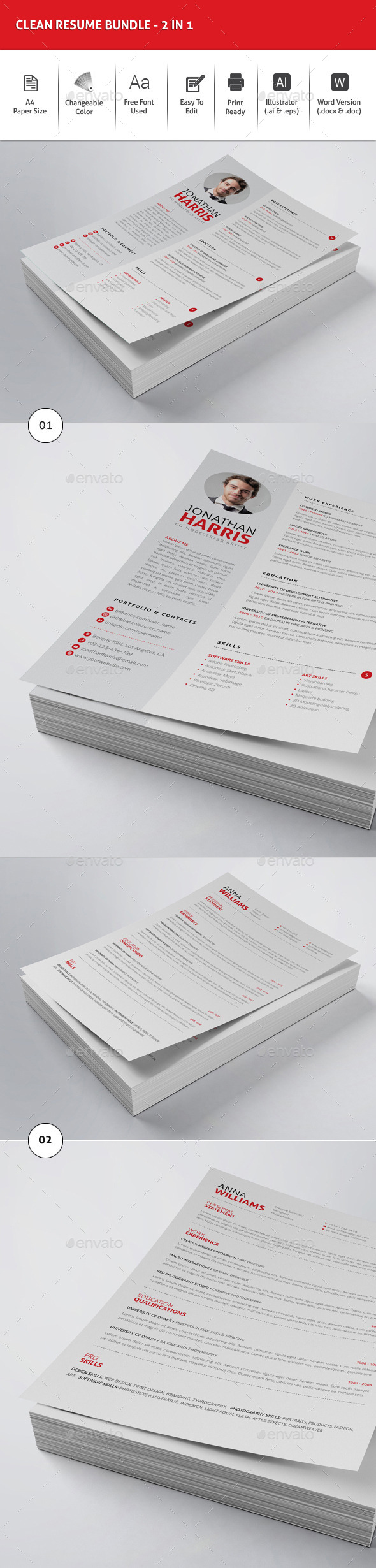Clean Resume Bundle - 2in1 - Resumes Stationery