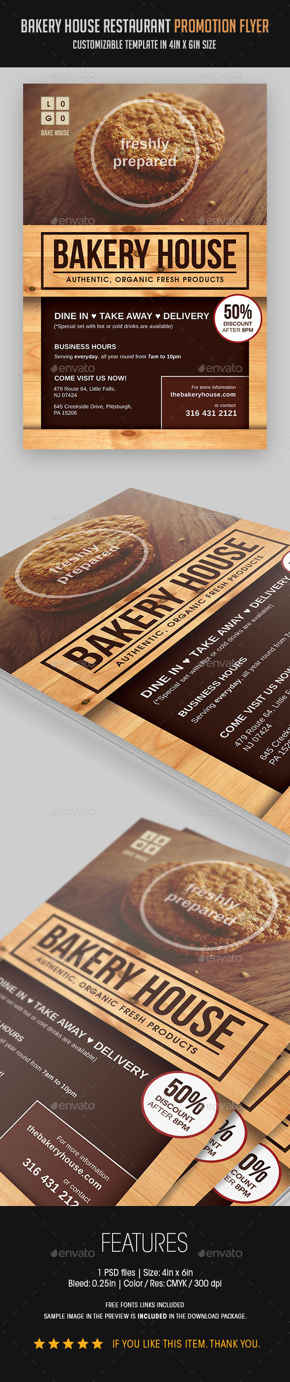 Bakery House Restaurant Promotion Flyer - Restaurant Flyers