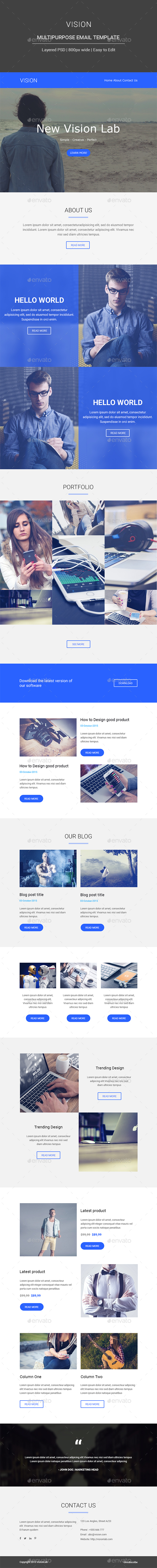Vision Multipurpose Email Template - E-newsletters Web Elements