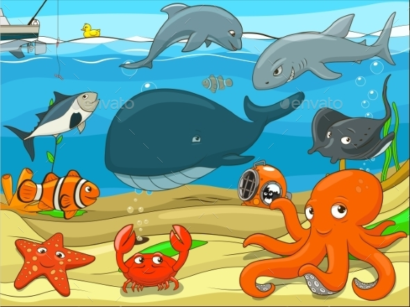 Educational Game for Children Underwater Life - Backgrounds Decorative