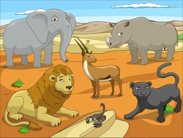 Educational Game for Children African Savannah - Animals Characters