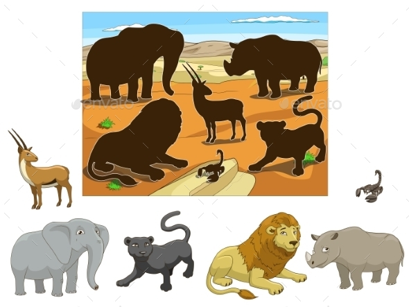 Match the Animals to their Shadows Child Game  - Landscapes Nature