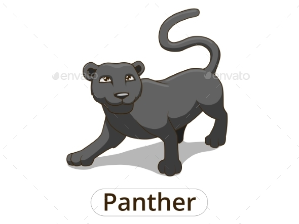 Panther African Savannah Cartoon Illustration  - Animals Characters