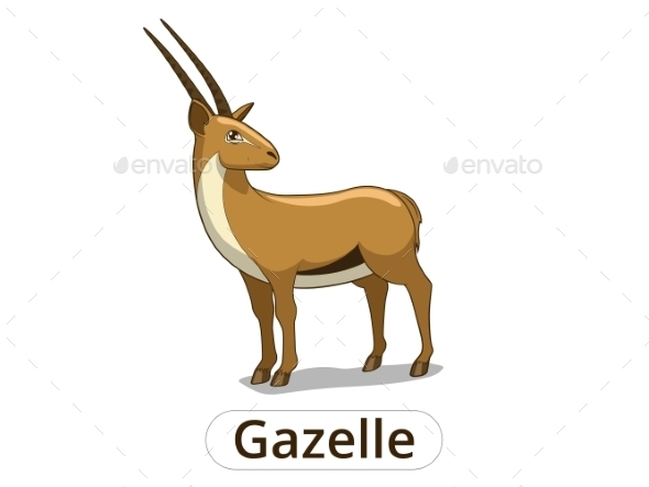 Gazelle African Savannah Cartoon Illustration - Animals Characters