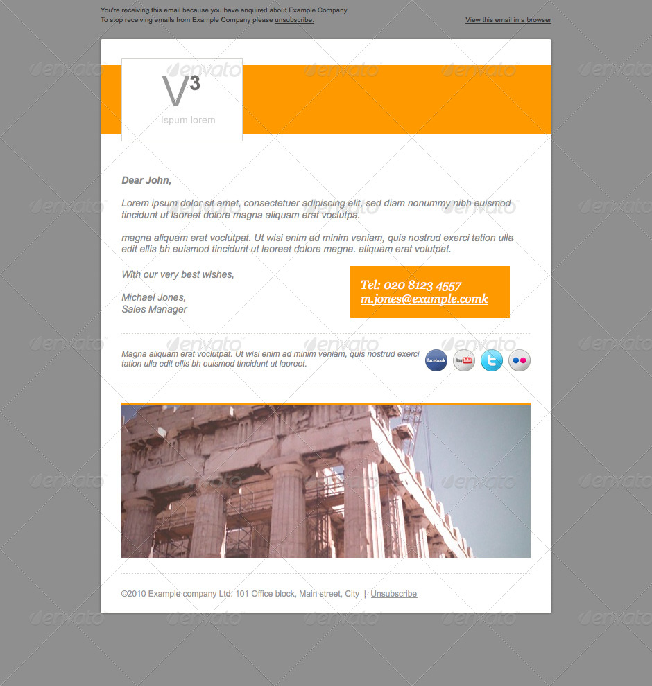 3 E-newsletter designs - Introduction design - Great for small email updates or initial contact with recipient. Grey version