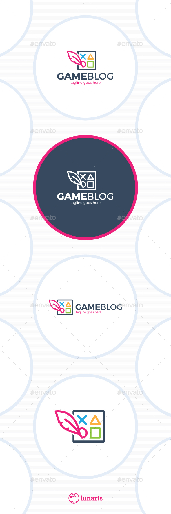 Game Blog Logo - Feather Square - Symbols Logo Templates