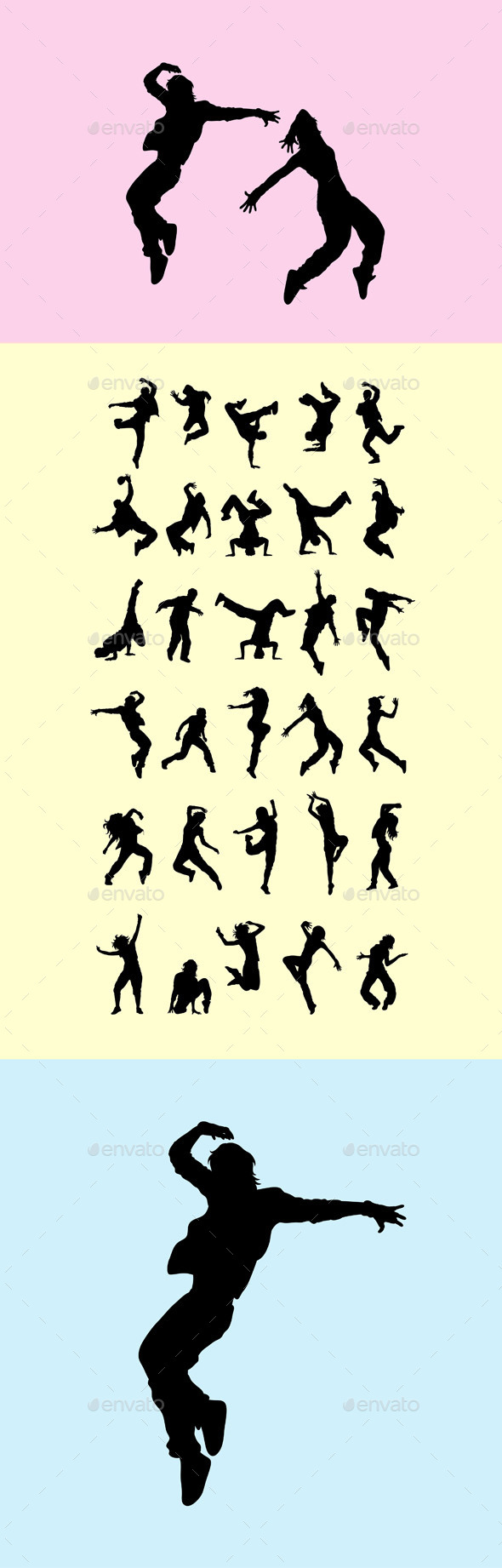Break Dancers Silhouette - People Characters