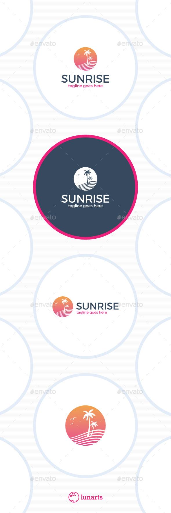 Paradise Sunrise Logo - Nature Logo Templates