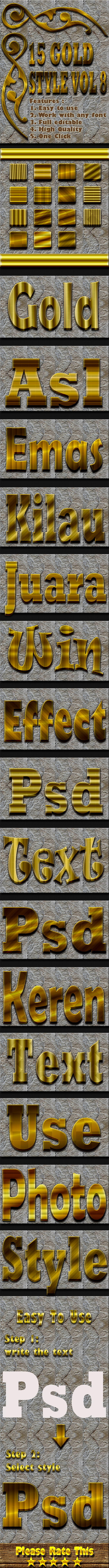 15 Gold Text Effect Style Vol 8 - Styles Photoshop
