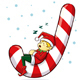 Christmas Elf Sleeping On A Candy Cane - GraphicRiver Item for Sale