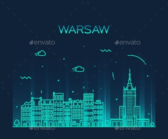 Warsaw Skyline Silhouette Illustration Linear - Landscapes Nature