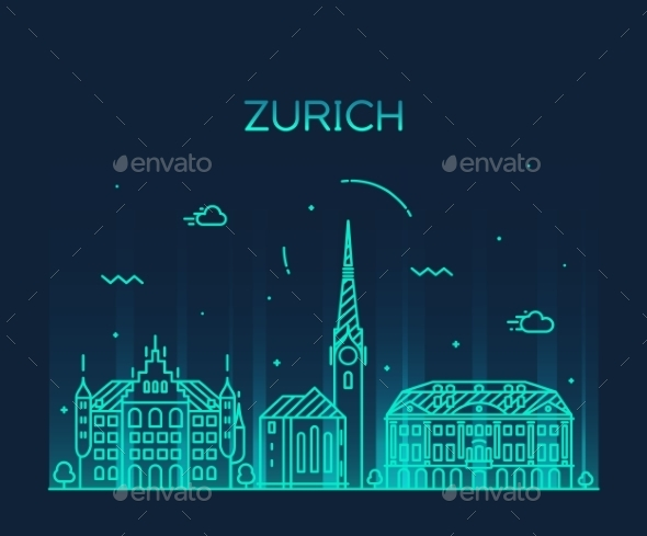 Zurich Skyline Silhouette Illustration Linear - Buildings Objects