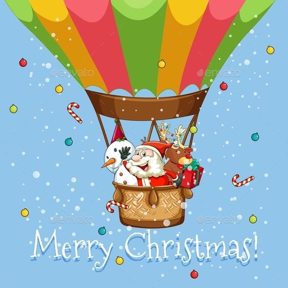 Christmas Poster with Santa on Balloon - Christmas Seasons/Holidays
