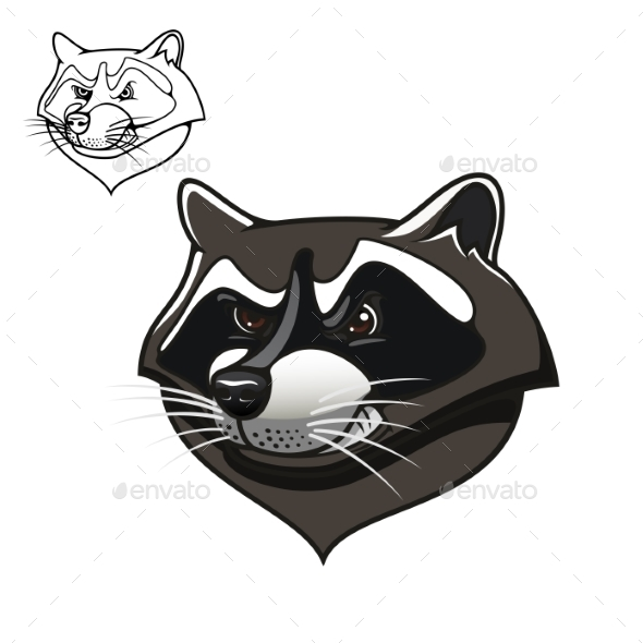 Angry Cartoon Raccoon Mascot On White - Animals Characters