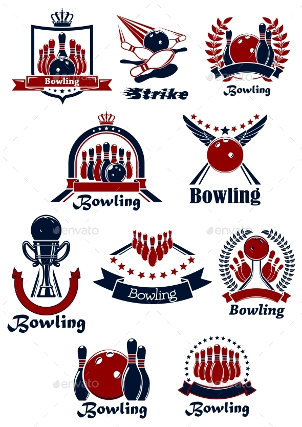 Bowling Sporting Club Emblems With Items - Sports/Activity Conceptual