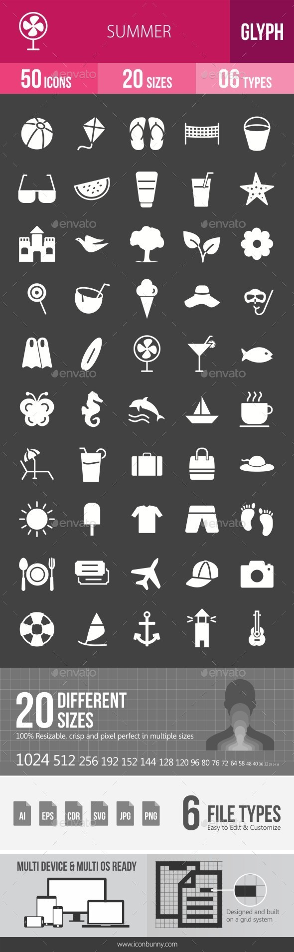 Summer Glyph Inverted Icons - Icons