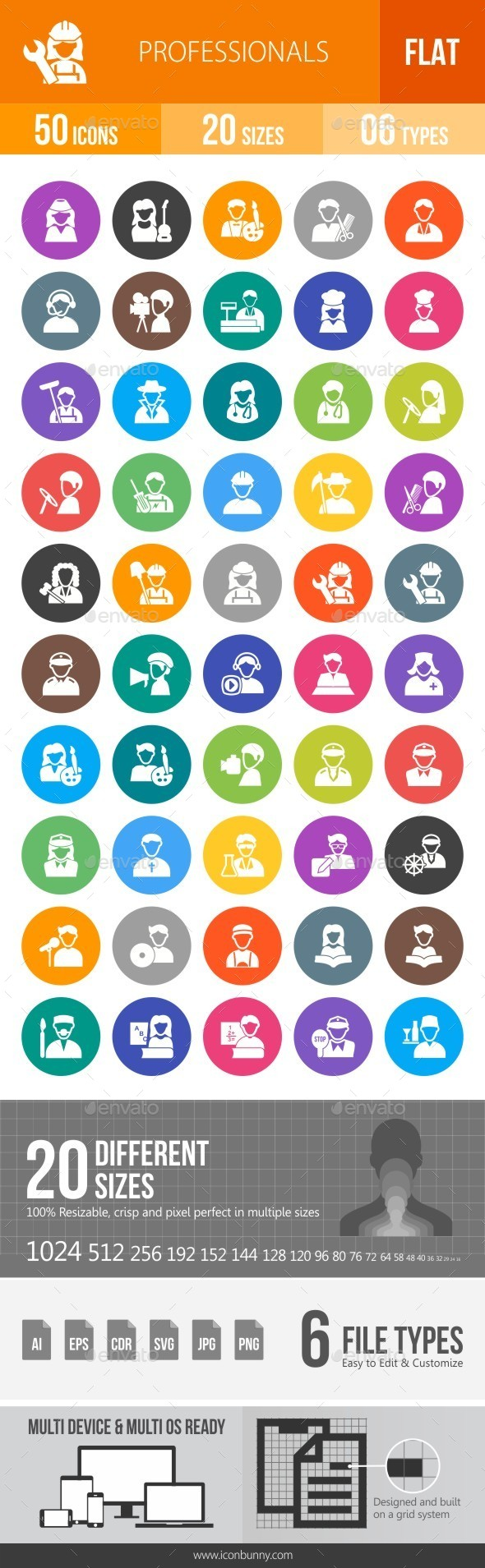 Professionals Flat Round Icons - Icons