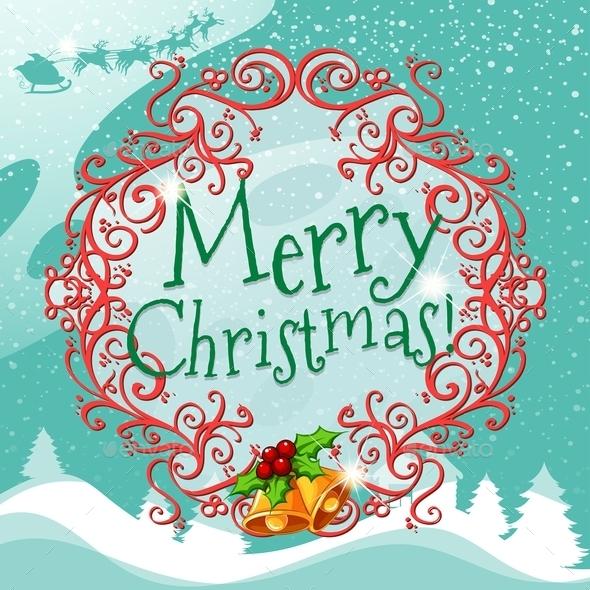 Merry Christmas Sign with Wreth - Christmas Seasons/Holidays