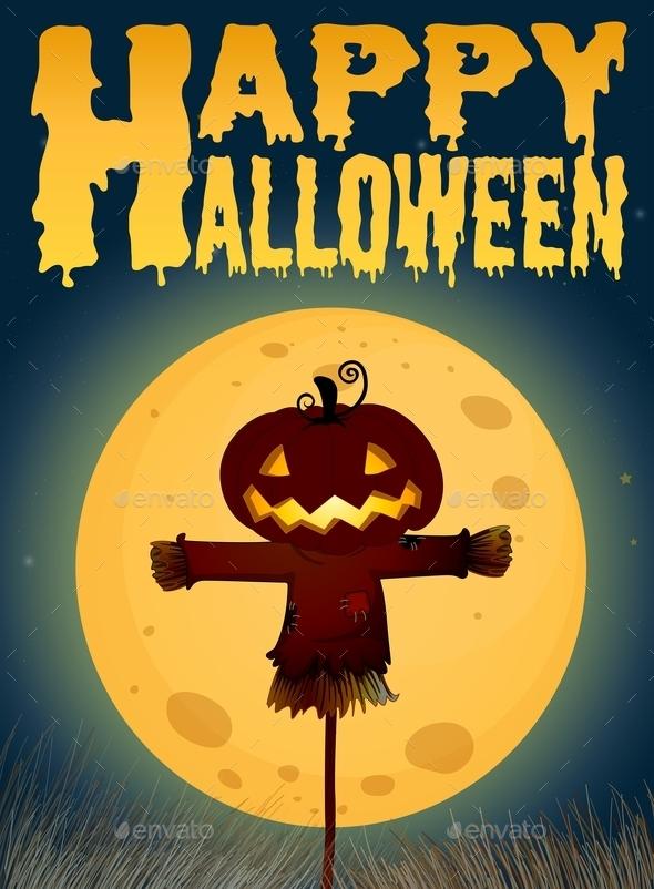 Halloween Theme with Scarecrow on Fullmoon - Halloween Seasons/Holidays