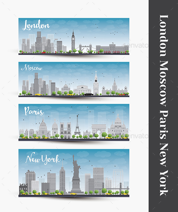 London, Moscow, Paris, New York - Buildings Objects