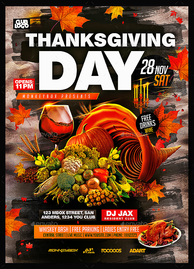 thanksgiving day flyer template by monkeybox
