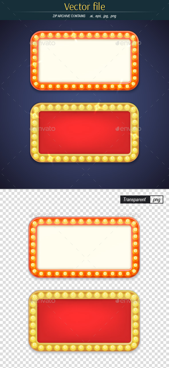Retro Frames with Electric Bulbs - Decorative Vectors