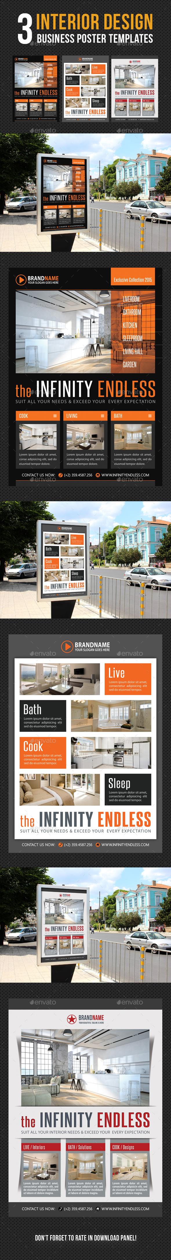 3 in 1 Interior Design Poster Bundle V02 - Signage Print Templates