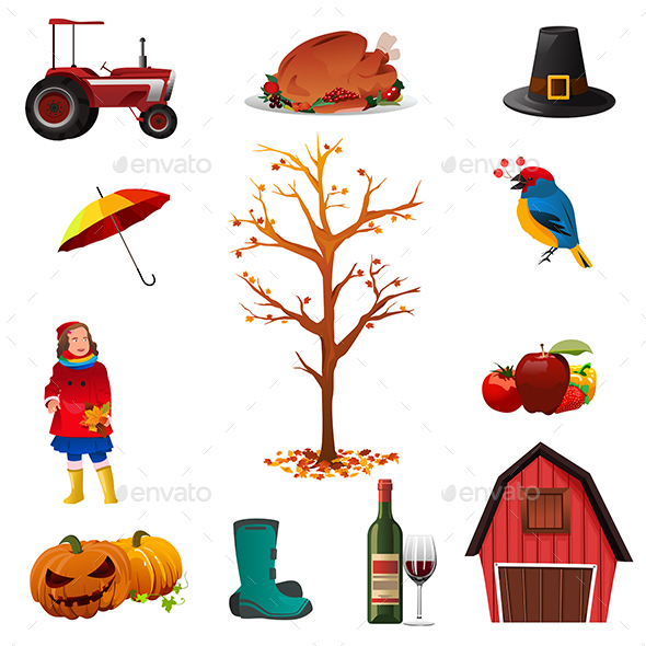 Fall or Autumn Icons - Objects Vectors
