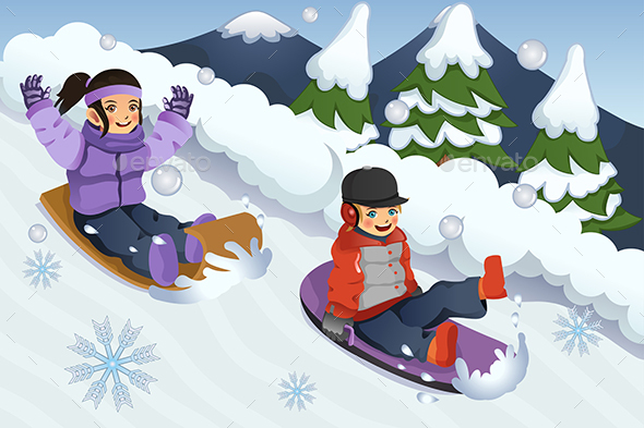 Children Playing Sledding - People Characters