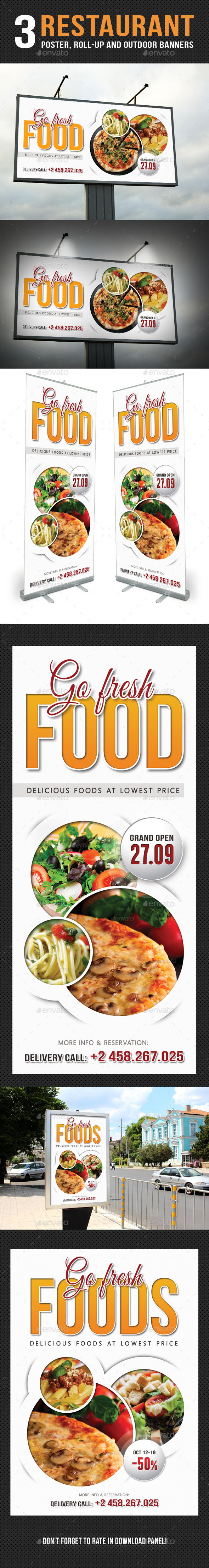 3 in 1 Restaurant Food Poster and Banners Bundle
