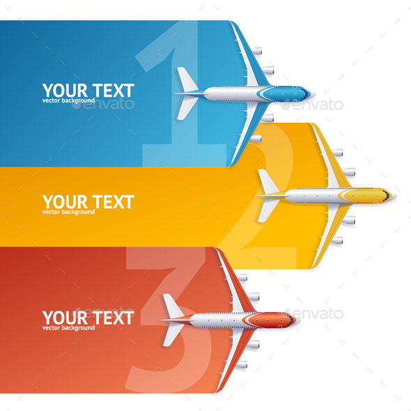 Airplane Concept Option Banner. Vector - Travel Conceptual