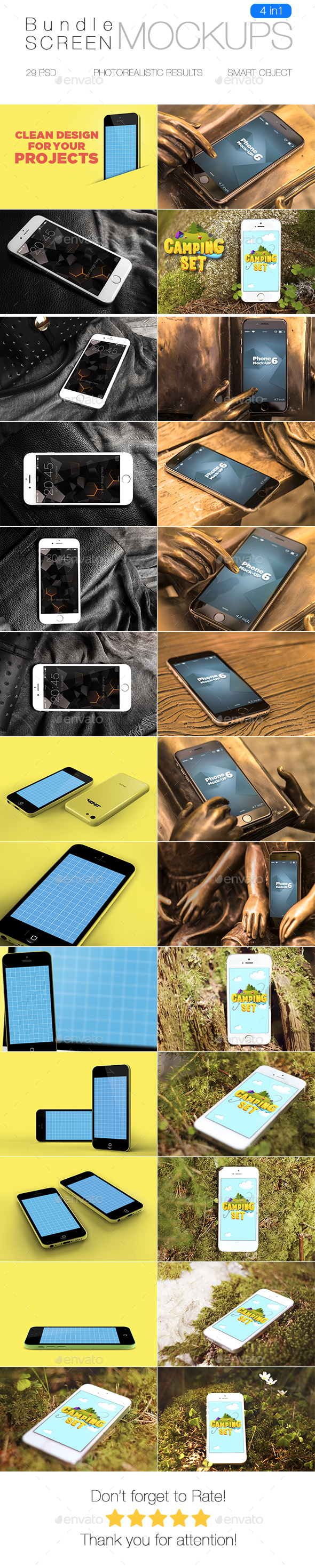 iPhone Screen Mockup Bundle - Mobile Displays