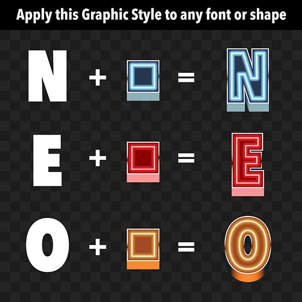3D Neon Graphic Styles - Styles Illustrator