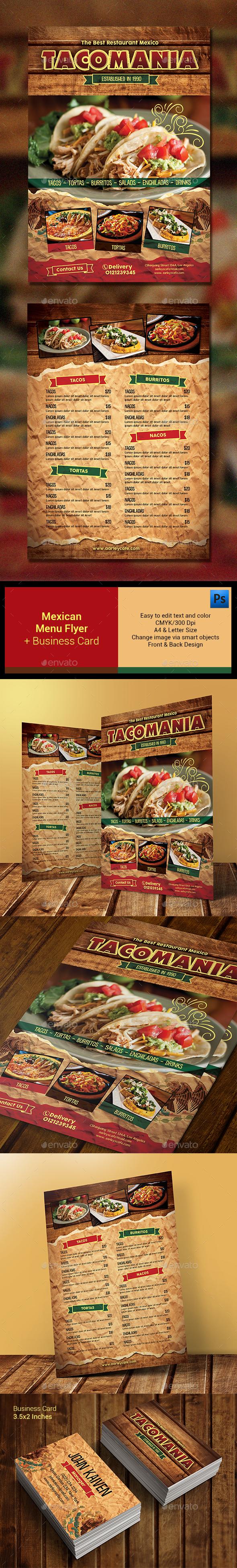 Mexican Menu + Business Card - Food Menus Print Templates