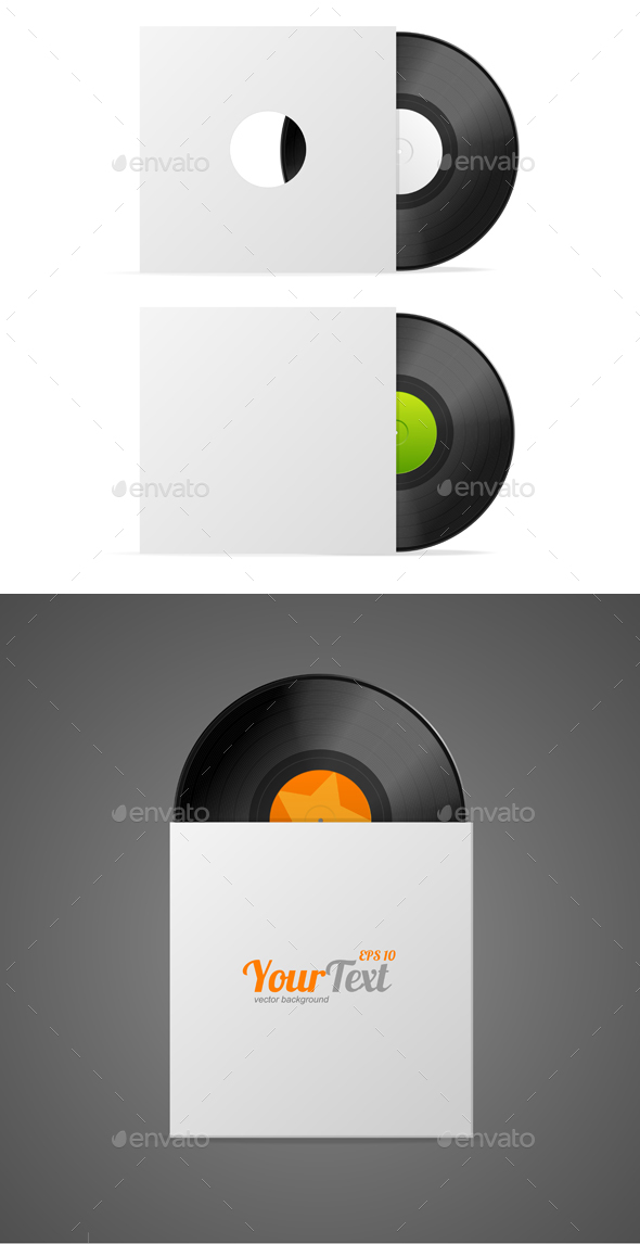Vinyl Record in Paper Case. Vector - Objects Vectors