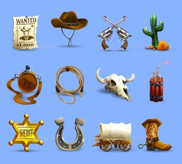 Wild West Icons Set  - Travel Conceptual