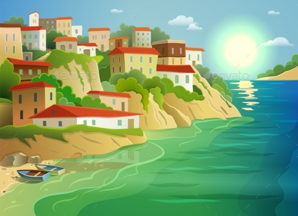 Coastal Sea Village Living Colorful Poster - Buildings Objects