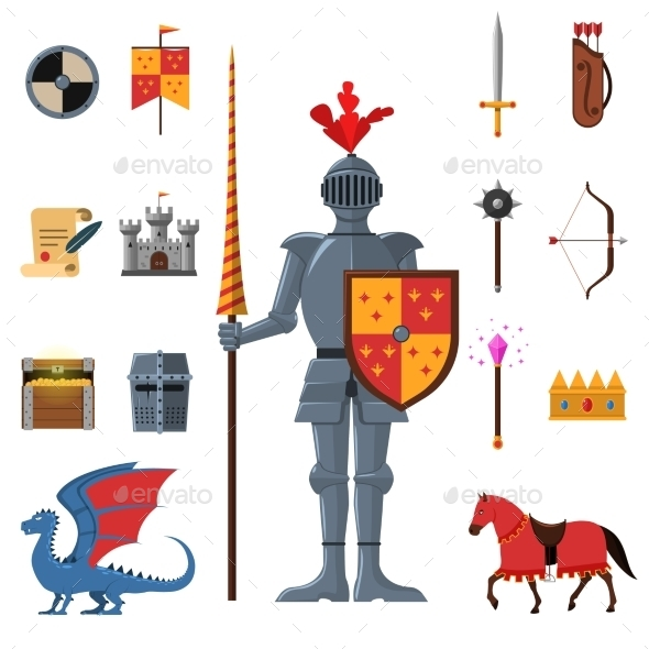 Medieval Kingdom Knights Flat Icons Set  - Miscellaneous Characters