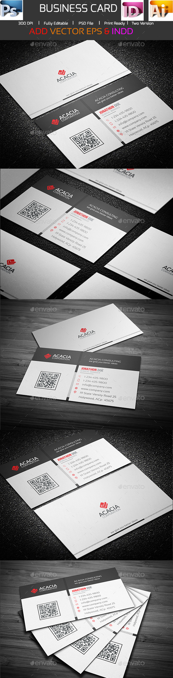 Simple Acacia Business Card - Corporate Business Cards