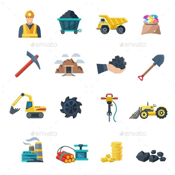 Mining Icons Flat - Icons