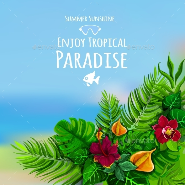Tropical Background With Monstera - Flowers & Plants Nature