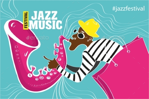 Illustration Of a Jazz Poster  - Backgrounds Decorative