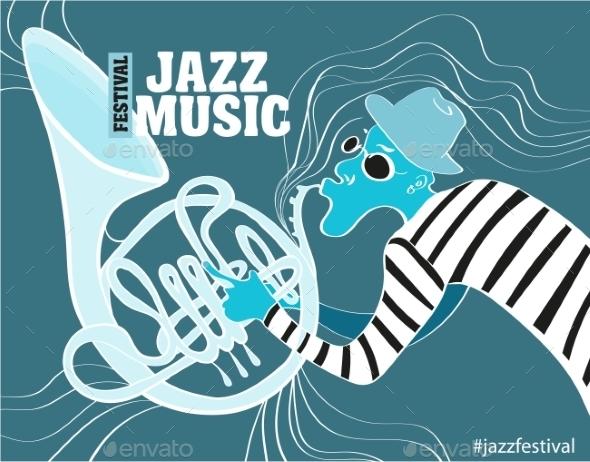 Illustration Of a Jazz Poster  - Decorative Symbols Decorative