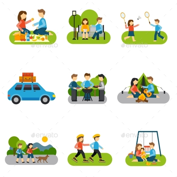 Flat Icon Outing - People Characters