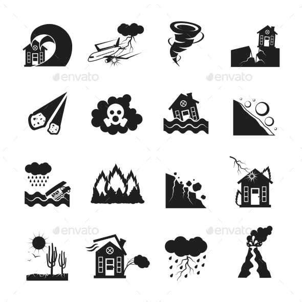 Natural Disasters Monochrome Icons Set  - Icons
