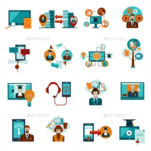Online Education Icons Set - Industries Business
