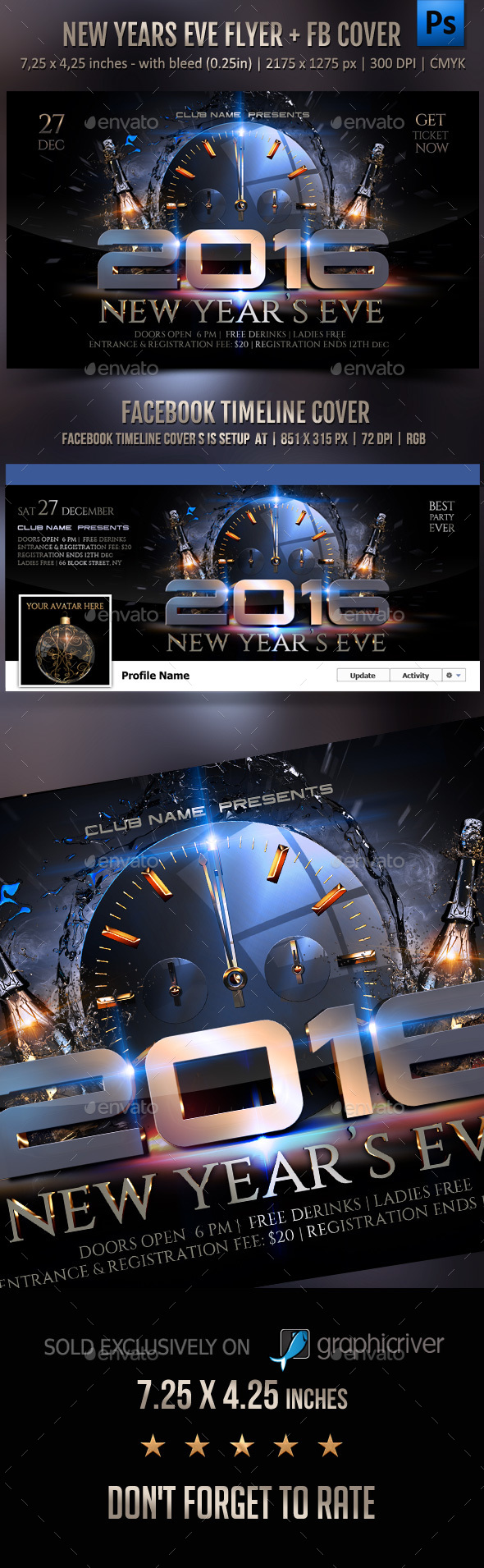 New Year Celebration Flyer + FB Cover - Clubs & Parties Events