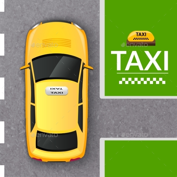 Yellow Taxi Cab Top View Banner - Travel Conceptual