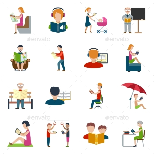People Reading Icons Set - Miscellaneous Vectors